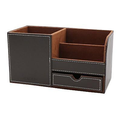 Exerz Large Faux Leather Desk Organizer Tidy Holder Multifunctional Dark Brown