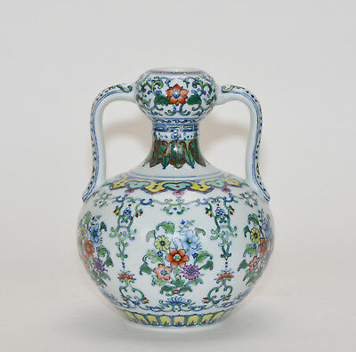 A Finely Painted Chinese Marked Doucai Ruyi Handle Floral Porcelain Vase - Floral Porcelain Vase