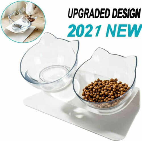 Feeding Dish For Cats Dog Food Bow Water Bow W/Stand Elevated 15 tilt Xmas Gift - $9.49