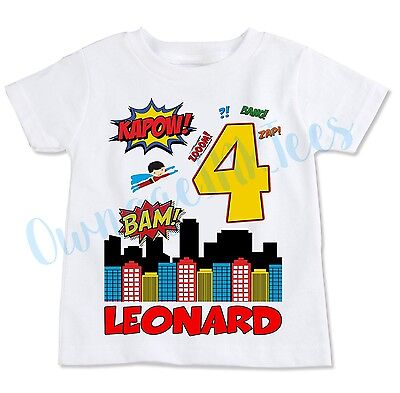 Superhero Birthday T-shirt, Personalize, custom, Add Name & Number, OwnageINK