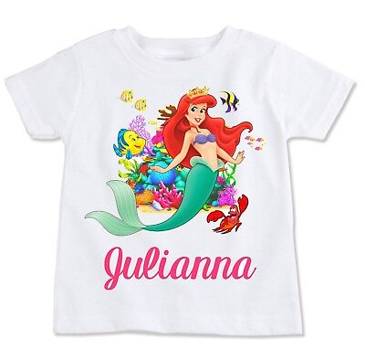 Little Mermaid custom Ariel Tshirt Personalize Birthday gift favor Kids disney ](Little Mermaid Custom)