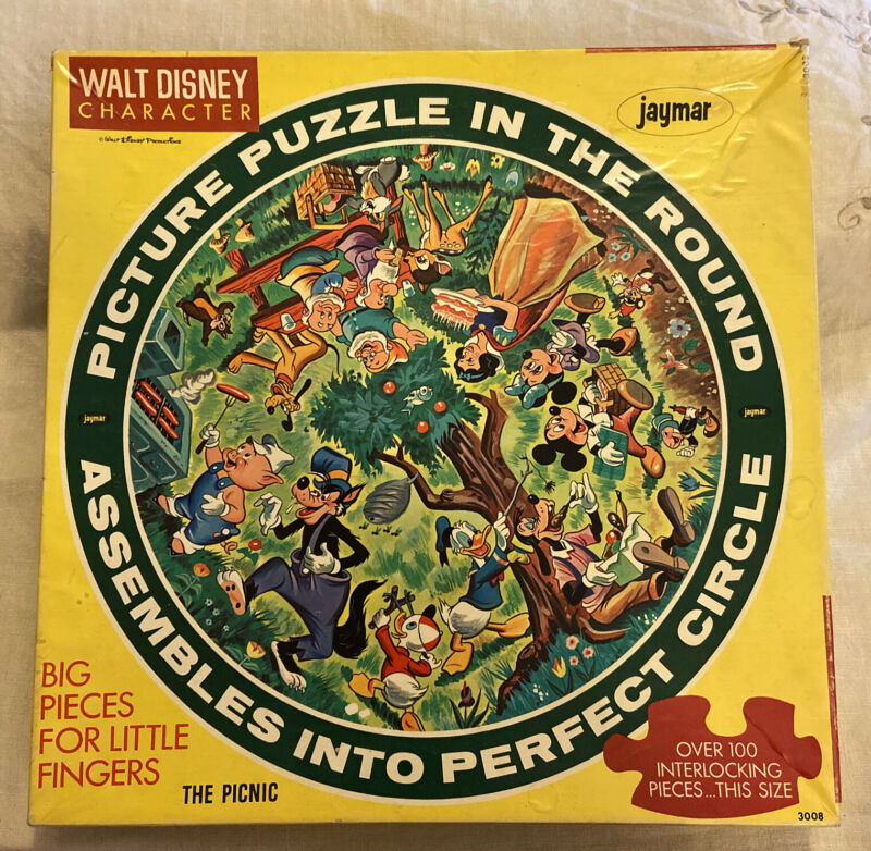 Vintage Walt Disney Character Puzzle in the Round THE PICNIC - Jaymar COMPLETE