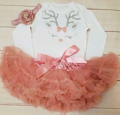 Baby Girls Christmas Reindeer Rudolph Outfit Tutu Costume dusky pink top set