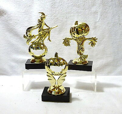 SET OF 3 HALLOWEEN TROPHY WITCH, PUMPKIN, SCARECROW TRUNK OR TREAT