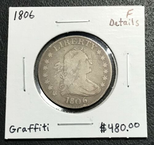 1806 U.S. DRAPED BUST SILVER QUARTER ~ FINE DETAILS! $2.95 MAX SHIPPING! C2867