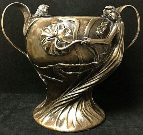 Large Antique Vintage Bronze Figural Art Nouveau Woman Handled Decorative Vase