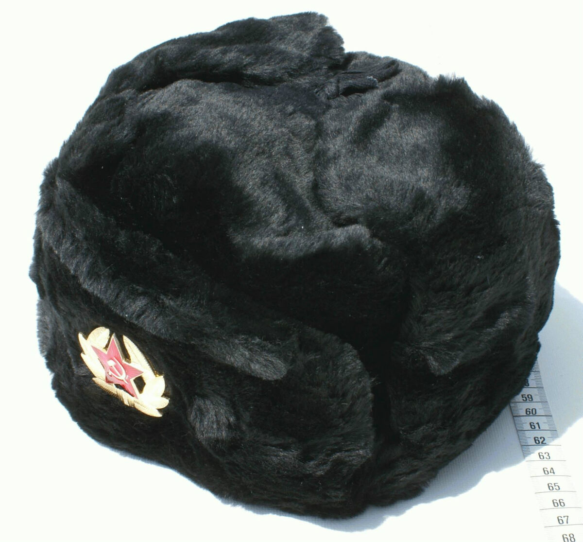 5b9dcaec84f Russian Soviet Black Military Ushanka Winter Hat Army Cold War USSR Emblem  Sign