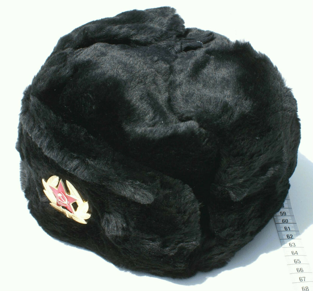 d47067b3e370a Russian Soviet Black Military Ushanka Winter Hat Army Cold War USSR Emblem  Sign