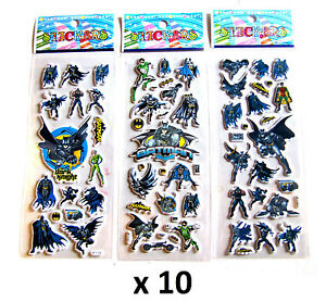 5 x OR 10 x CHILDRENS KIDS 3D BATMAN STICKERS SHEETS PARTY BAG STOCKING FILLER