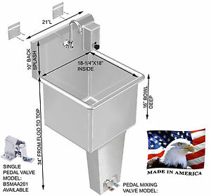Wash up hand sink stainless steel single station 21 pedal valve made in usa ebay - American made stainless steel sinks ...
