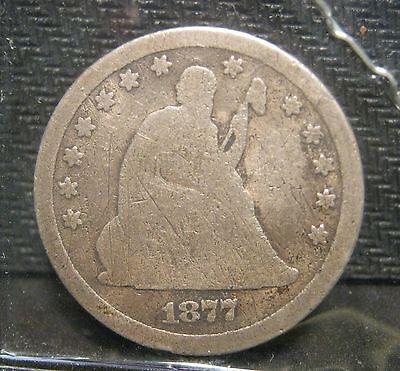 1877 CC SEATED LIBERTY QUARTER   AG