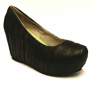Ladies Womens New Mid Wedge Heel Platform Slip On Leather Pumps Court Shoes Size