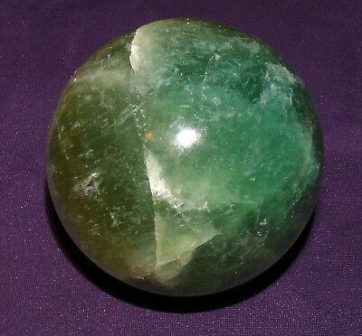 Fluorita Bola Pulido 643,3g, Di. = 73mm, Piedra Curativa, Pedestal de Madera