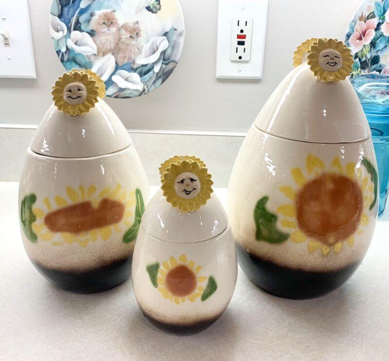 Vintage Kitsch Anthropomorphic Sunflower Canister Set