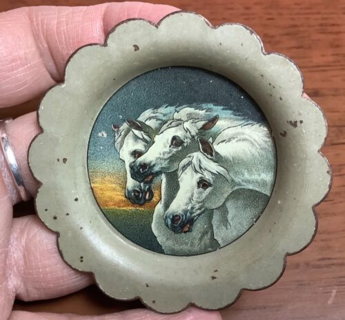 RARE SMALL ANTIQUE ADVERTISING TIP TRAY PHARAOHS HORSES 2 5/8""