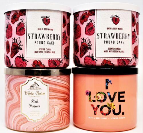 x4 Bath & Body Works 3 Wick Candles 14.5 oz STRAWBERRY POUND CAKE PINK PROSECCO