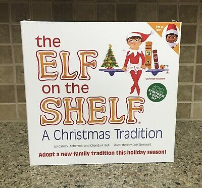 NEW Elf on the Shelf Brown Eyed Dark Skin Girl Doll & Christmas Tradition Book
