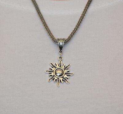 Schlangenglieder Halskette 3mm mit Sonne Anhänger  (Sonne Halskette)