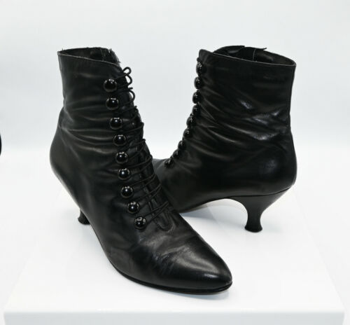 Black Vintage Poppies Goth Victorian Button-up Genuine Leather Boots Size 7.5 M