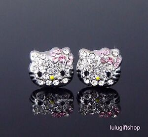 18K WHITE GOLD PLATED HelloKitty CAT GIRL'S STUD EARRINGS USE SWAROVSKI CRYSTALS