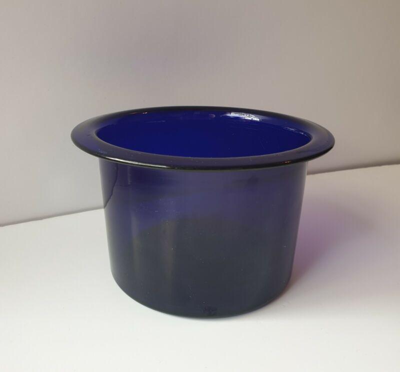 LARGE SILVER POTATO DISH RING COBALT BLUE GLASS LINER INSERT