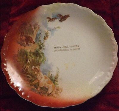 Early 1900s Quail Hunting Bird Dog Advertising Plate BUSY BEE BREAD BAKERY