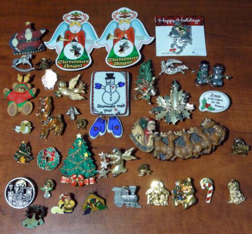 Christmas Pin Brooch Estate Lot 36 pcs Holiday Rhinestones Animals Fun
