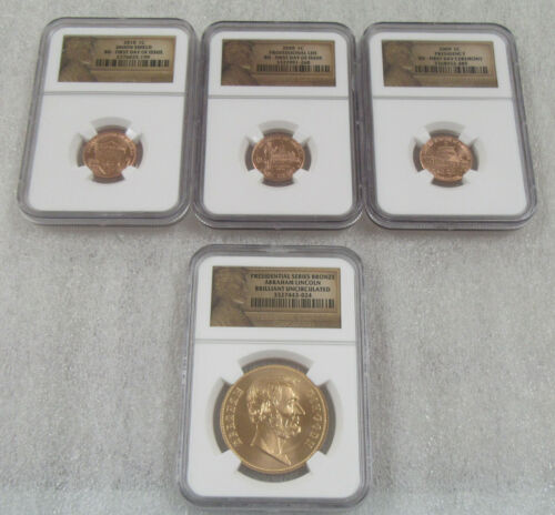 2009 Lincoln Cent First Day Issue & Presidential Series Bronze * Lot of 4- NGC
