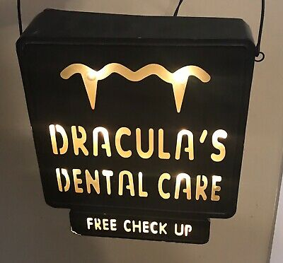 Draculas Dental Care Free Checkups Light Up Metal Sign Halloween