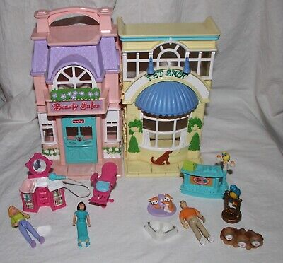 Sweet Streets Beauty Salon Pet Shop 3 Dolls 7 Accessories Fisher Price