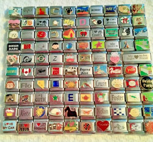 100 Piece ITALIAN  CHARMS 9mm lot # 443 No duplicates -FREE SHIPPING