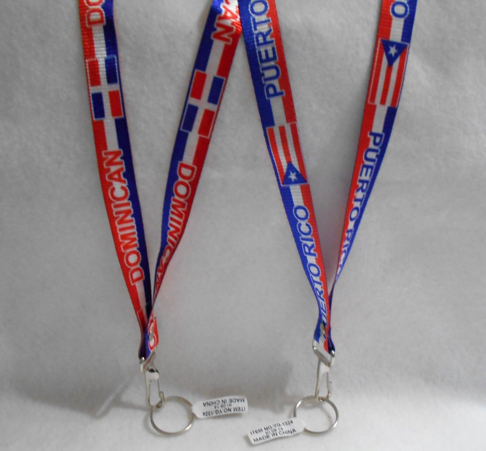 dominican republic or puerto rico flag lanyard key chain 22 inch