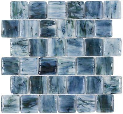 Classic Brick Pattern Blue Glossy Glass Mosaic Backsplash Tile Kitchen MTO0115 - Mosaic Patterns