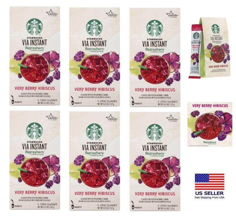 Starbucks VIA Instant Refreshers Very Berry Hibiscus 6 Packets FRESH