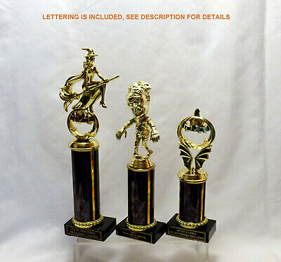 SET OF THREE HALLOWEEN TROPHIES WITCH ZOMBIE PUMKIN TROPHY HALLOWEEN COSTUME  ](Trio Of Halloween Costumes)