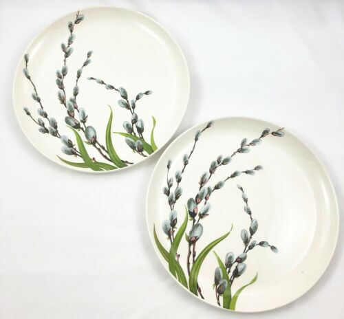 Vtg Lot of 2 Mid Century W.S. George Pussy Willow w/ Green Grass Dinner Plate