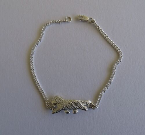 Small Sterling Silver Bearded Collie Moving Study Bracelet