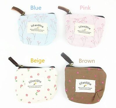 Flower Print Canvas zipper coin purse, change purse, zipper pouch, small (Flower Print Zipper)