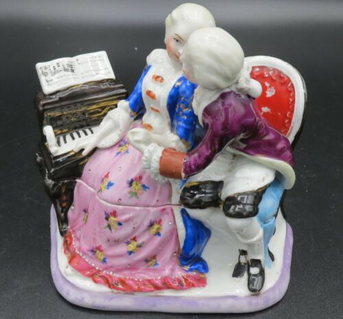 """Conta & Boehme 4 1/2"""" Victorian Couple Inkwell w/piano  - repaired"""