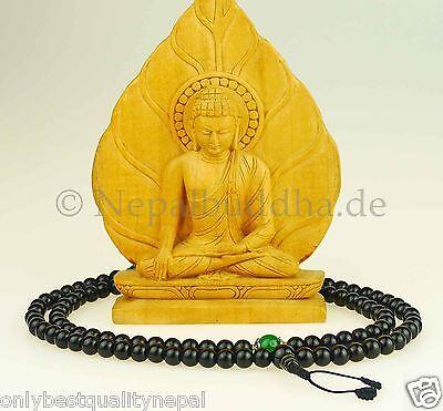 "Schwarze Gebetskette Mala Onyx ""grüne Jade"" Halskette Nepal 101h"
