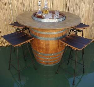 WINE BARREL TABLE AND 4 SLATTED  STOOLS Homebush Strathfield Area Preview