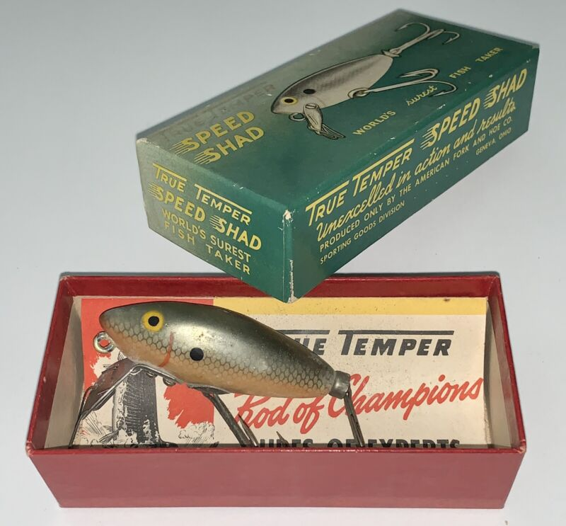 Vintage True Temper Speed Shad #100 Nat. with Box and Brochure Catalog