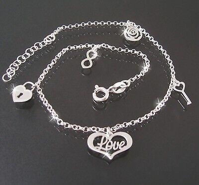 Fußkette Kette 925 Silber 24-27cm Bettelkette Liebe Herz Unendlichkeit 22320-27