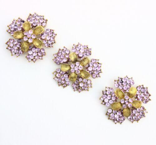 Macys Retro 1990s Lilac Purple Rhinestone Cluster Flower Brooch Lot