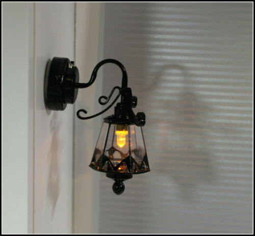 Dollhouse Miniature Battery Operated Black Coach Light with Amber Bulb