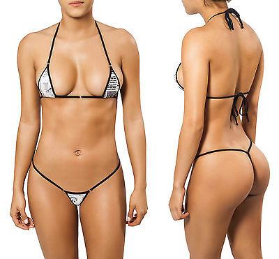 Sexy JOE SNYDER Micro Triangle-String-Bikini-Set ★ Weiss Schwarz ★ Thong Tanga