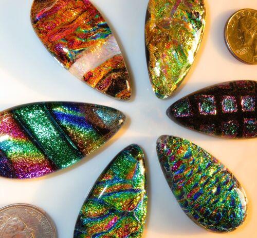 6 Dichroic Montana Art Glass Tear Cabochons CAB TILE PENDANT Mosaic MULTICOLORED