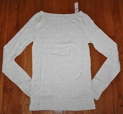 Boatneck Womens Shirt (NEW NWT Womens GAP Long Sleeve Boatneck T-Shirt FAVORITE Tee Heather Grey *C3)