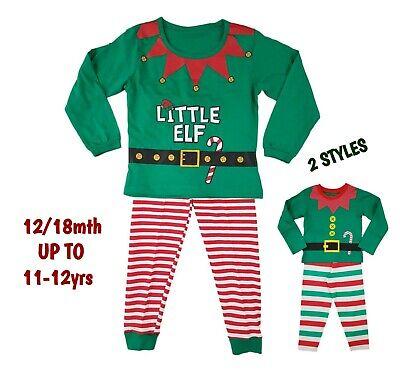 Boys Baby Kids Christmas Xmas Elf PJs Pyjamas Outfit Costume Long PJ Gift Cotton