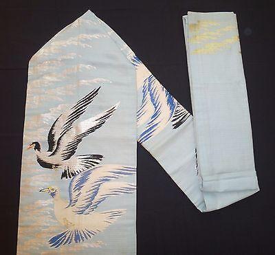 Vintage authentic Japanese Nagoya obi for kimono, light blue & birds (K596)
